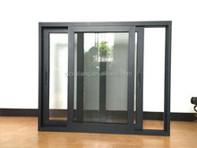 double glazed aluminum sliding windows with flyscreen ,black color profile aluminum window
