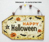 Bats and Skeleton Happy Halloween Decoration Metal Wall Hanging Plauqe