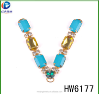 Hw6117 new design blue and yellow acrylic fashion flip flops shoe chain