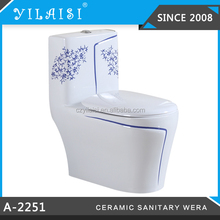 A-2251 Blue and white siphonic vortex porcelain toilet with 3D water exit