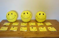 yellow pvc inflatable ball smiley face beach ball