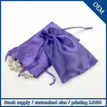 Wholesale Custom Logo Drawstring Gift Satin Bag For Jewelry
