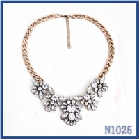Top selling factory wholesale jewellery gold plated chain clear crystal pendant adjustable necklace