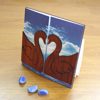 New Products Guangzhou Wooden Blue and Chocolate Wedding Invitation Card Swan