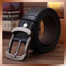 OMH wholesale Black and brown brand pin buckle Real soft cow leather belt fashion Men's belt