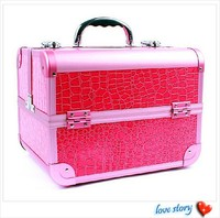 Wholesale PVC leather cosmetic case pink makeup artist case