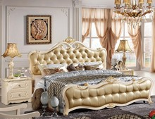 #686 elegant leather bed design, hand carved and upholstered Glossy lacquered finish leather bedroom furniture