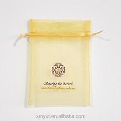 cheap custom printed organza bags with logo ribbon