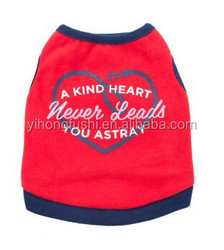 Lovable Heart Dog Tee Shirt With Rib Trim/Nice Summer Dog Apparel