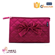 hot selling diamond nylon sewing cosmetic bag with mirror travel cosmetic bag