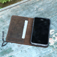 Vintage style first crazy horse leather phone wallet case for iphone 5 DHL FREE SHIPPING
