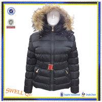 2014 women fashion coat with fur hood