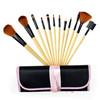 Black Pink Purple Cute Silk Case 12pcs Wooden Cosmetic Makeup Brushes