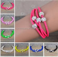 Braided Leather Wristband Magnetic Five Crystal Buckle Charm Bracelet Bangle