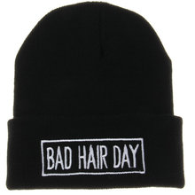 2014 Winter Beanie Bad Hair Day UNISEX Roll-up Hem Hats Touca Sport Women Skullies Casual Caps Cotton Wool Knitted Hat For Men