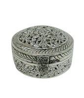 White Metal Dry Fruit Box Round