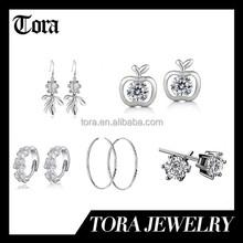 Wholesale 2015 new design fashion zircon earring 925 sterling silver earring