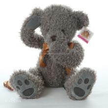 custom embroidered plush shy teddy bear toy , Grey cute dressed soft teddy bear