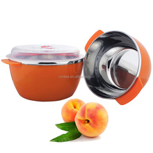Stainless steel keep salad bowl with lid /fruit bowl with cover