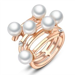 china wholesale cost price promotion popular charming pearl women diamond wedding ring