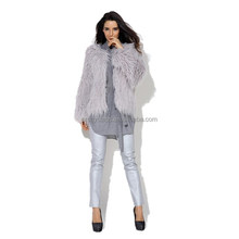 Pretty steps elegant design griege long sleeve long fur Pieces sweater cardigan women wear 2015
