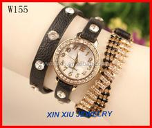 Fashionable Crystal Women Leather Wrap Quartz Wrist Watch