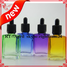 colored rectangle 30ml empty glass bottles e liquid made in China