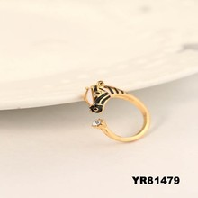 Fashion smooth opening alloy set auger female zebra rings