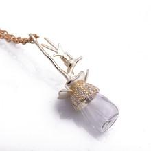 Most popular flash diamond lovely fairy perfume bottle crystal necklace