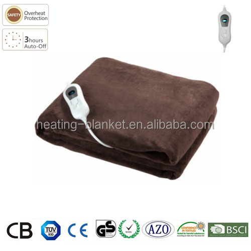CE GS 3 Temperature Settings Auto-timer Single Microplush Throw Electirc Blanket