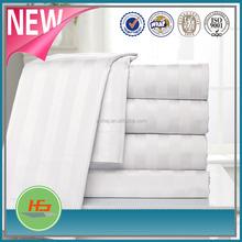 Bed linen brand/ hotel beddings / satin strip white bedding sets