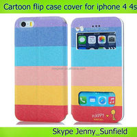 Mobile phone case Cartoon super slim leather flip cover case for iphone 4 4s, for iphone 4s case flip ,for iphone case 4s 5s 6