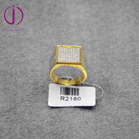 Stylish men jewelry 925 sterling silver micro setting ring gold plated design for men
