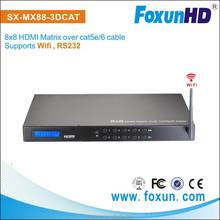 Shunxun Factory 8x8 DHMI Matrix over 50m cat5e cat 6e support RS232 and control4 for mart phone controla