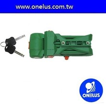 green bicycle folding lock with holder