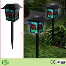 Ladybug glass lanterns plastic stake solar light for garden decoration