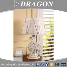 Wood grain lampshade flower carved ceramic bedside table lamp