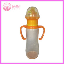 Productos para bebés BPA pp libre / vidrio / silicona decorado botellas con dos colores de la manija