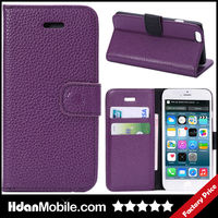 Purple Leather Wallet Money Card Stand Cover Case for iphone 6 Mobile Phone Bags & Cases