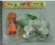 Arrows flying horse straight hair with barbie, children Pull toy