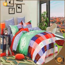 100% cotton red blue grid japanese printed bed sheet set