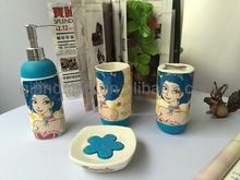Qiandu fashion girl blue ceramic bathroom accessories set