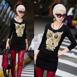 Korea Unique Womens Cute Cartoon Owl T-shirt Casual Long Sleeve Tops Gold Sequin