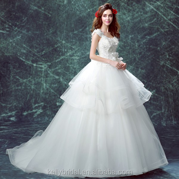 Zm16123 Romantic French Style Wedding Dress With Big Long Train Plus ...
