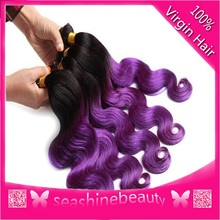 2015 two tone ombre colored hair weave bundles, 1b/purple spring curl brazilian human hair sew in weaves