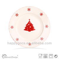 Round red ceramic plates and dishes Christmas tree plates