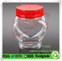 200ml PET plastic bottle for food grade,clear heart shape plastic cookies jar wholesale,plastic honey container making factory