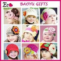2015 baby flower hat Winter Crochet Hats handmade knitted hat/flower crochet baby patterns