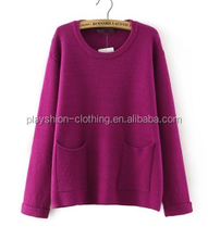 2015 autumn Set of big pocket decoration sweater loose pure color women sweaters