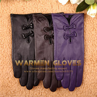 WARMEN Stylish Women Cute Bow Hand Bags Tips warm Lined Genuine Nappa Soft Leather Gloves
